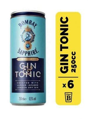 6 Gin Bombay Sapphire Tonic Lata 250cc
