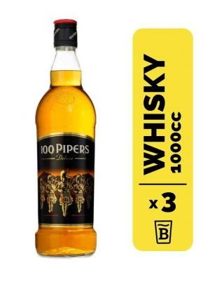 3 Whisky 100 Pipers 1 Litro