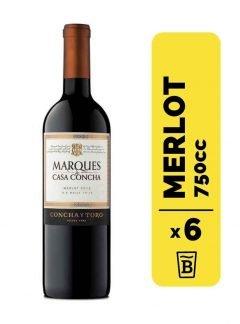 6 Vino Marques Casa Concha Merlot 750cc