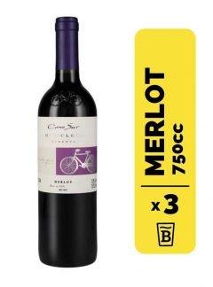 3 Vino Cono Sur Bicicleta Merlot 750cc