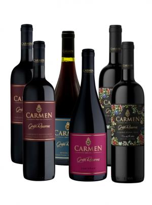 Pack Vino Carmen Gran Rsva 2 Cabernet Sauvignon + 2 Carmenere + 1 Petite Syrah + 1 Carignan 750cc